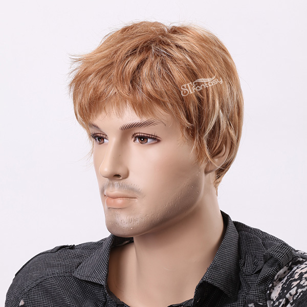 Blonde-brown mixed color short curly men wigs