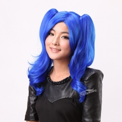 "17"" Fashionable dark blue cosplay synthetic wigs for role play"