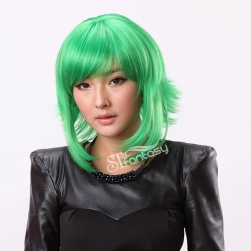 "16"" Cosplay short green Japanese synthetic wigs"