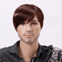 "12""Dark brown short straight synthetic wigs for male"