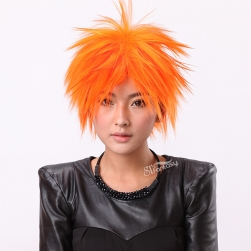 "13"" Short synthetic orange wigs for girls"