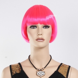 Bob hair style high temperature fiber hot pink mannequin wig
