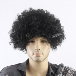 Kinky curly afro short wig for black man