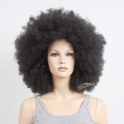 "19"" fluffy synthetic hair afro wig for black women wholesale"