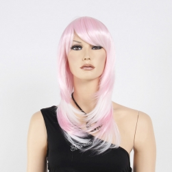 High temperature fiber layered wig with inwards facing curl mix pink color
