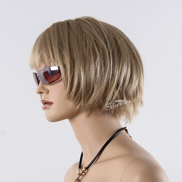"13"" Light blonde synthetic hair bob wig for mannequin head"