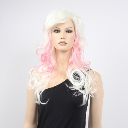 Long curly high temperature fiber colorful party wig