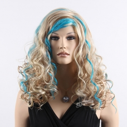 Medium long curly synthetic hair three tone color party wig with blue highlight