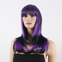 Mixture color high temperature fiber long straight layered wig for party