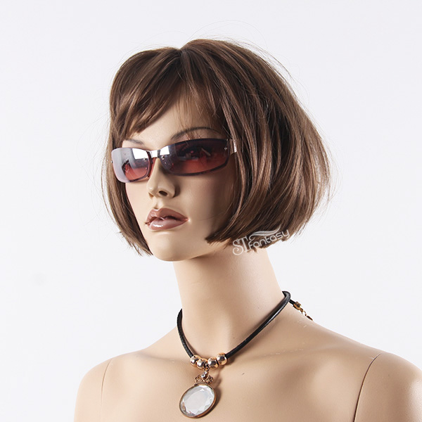 Short brown synthetic bob wig for female mannequin