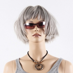Natural looking short grey hair synthetic fiber mannequin wig