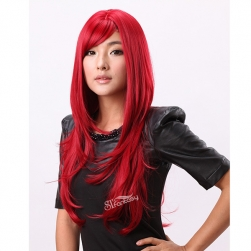 Beautiful long red synthetic hair cosplay wig with natural curl