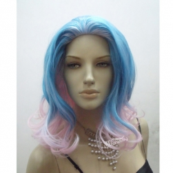 New style half blue half pink party wig with high temperature fiber