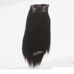 Long straight black synthetic fiber clip in hair extension