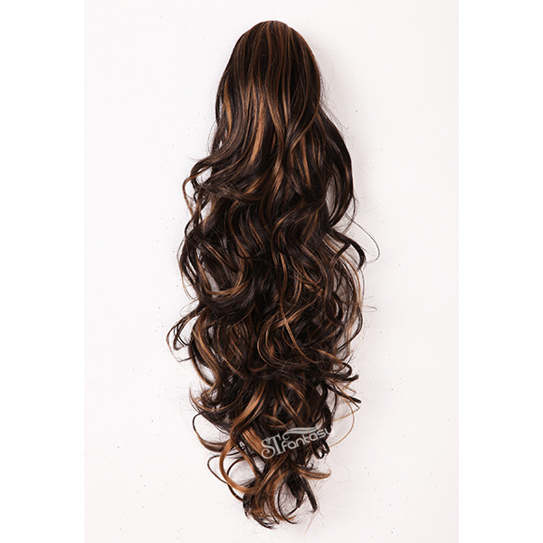 22 inch long curly synthetic claw in hair extension ponytail mix color