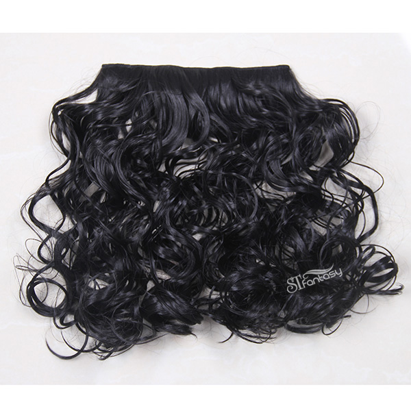 Medium long kinky curly black synthetic hair weft with 4 clips