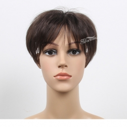 Short straight synthetic hair men's toupee