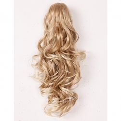Long curly blonde color synthetic hair claw in ponytail