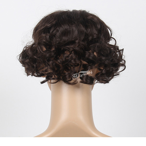 Short black kinky curly synthetic hair toupee for women
