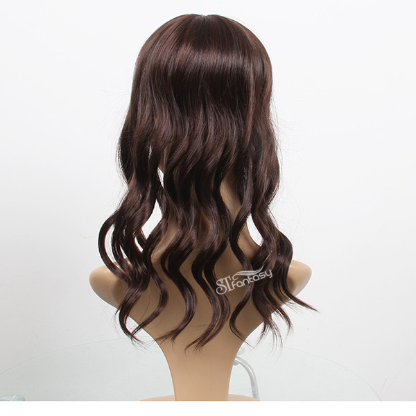 Long curly synthetic hair toupee for women