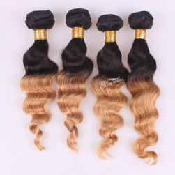 Ombre color remy hair weft curly indian hair extension