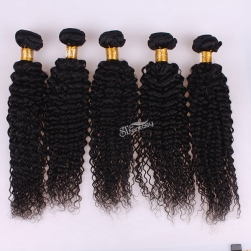 Black kinky curly non remy human hair extension for afro women