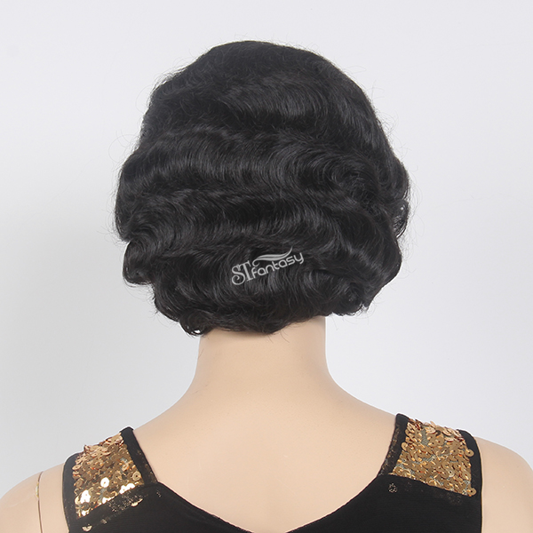Real looking short black women lace front wigs with no bang