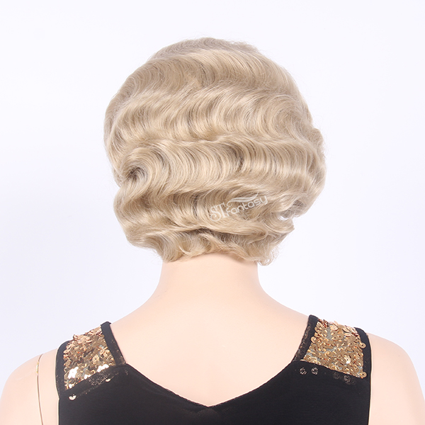 Fashionable short blonde lace front wigs for British women