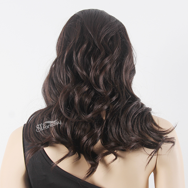 Black synthetic lace front wigs for women with curly style