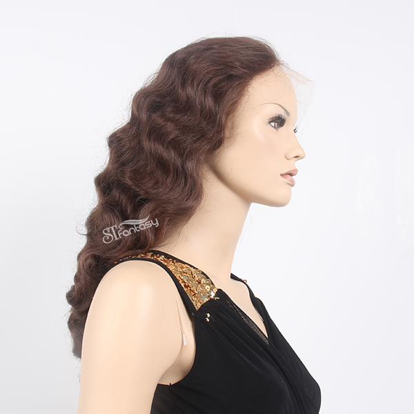 70s style natural brown water wave lace front wigs for women