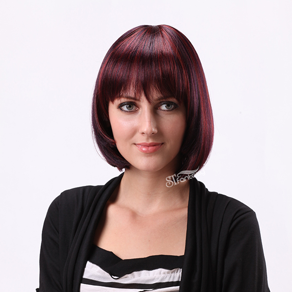 "13"" short bob wigs synthetic flame resistant wigs"