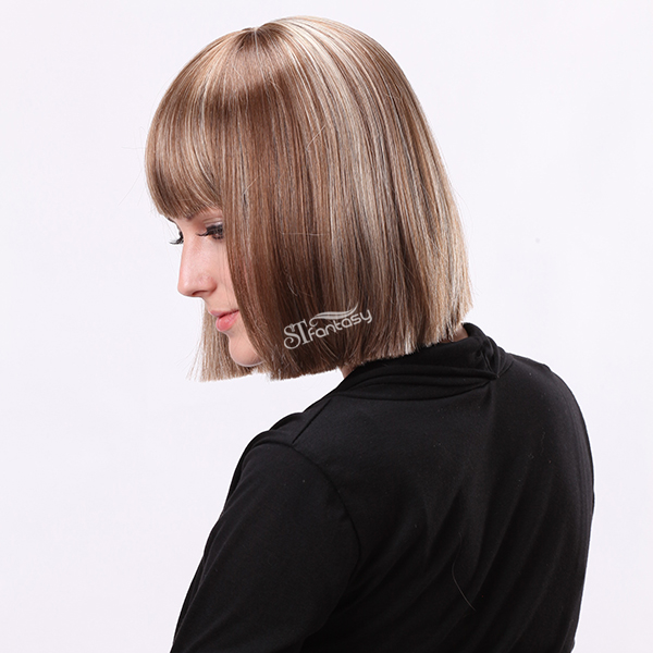 "12"" Bottom smooth grey brown mixd color wigs popular in England"
