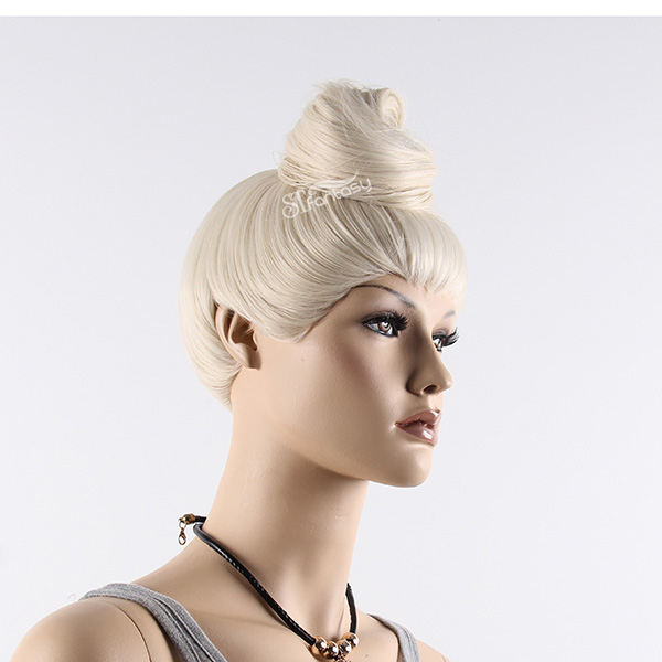 White synthetic wig display manequin head with hair bun
