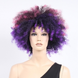 Colorful fluffy short synthetic hair sports fan wig
