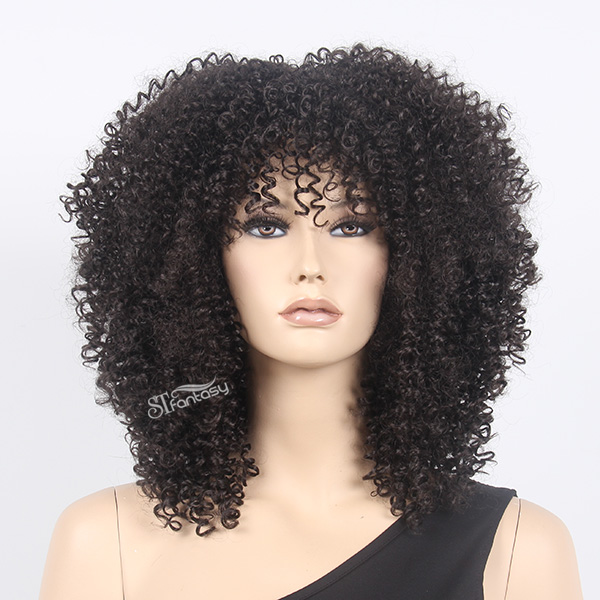 Black afro wig with kinky curly synthetic fiber imported from Japan