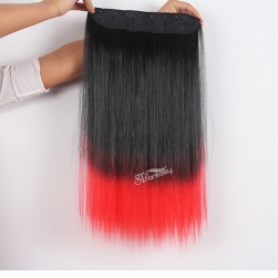 Black ombre red one piece synthetic hair extension with clips