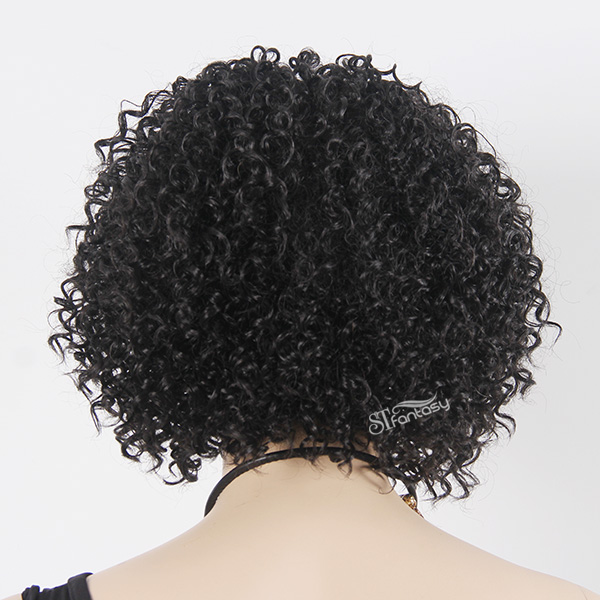 "14"" Short kinky curly afro wig for black women"