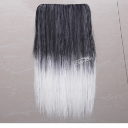 Grey ombre white one piece synthetic hair extension wholesale