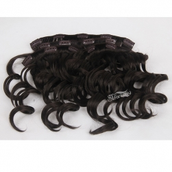 Deep wave synthetic hair weft clip in hair with 4 pieces per set