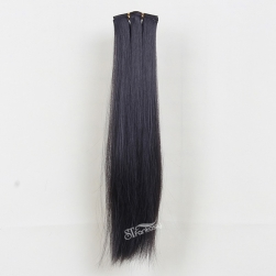 One piece black straight long synthetic hair weaving