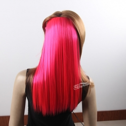 Silky straight rose red synthetic hair weft wirh 4 clips
