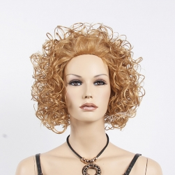 "12"" kinky curly blonde synthetic hair half wig for white women"