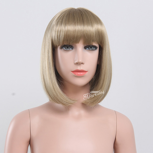 ST golden blonde synthetic bob hair style wig for little girls