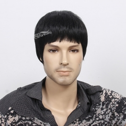 "Wholesale 12"" black short men artificial hair wig with imported fiber from japan"
