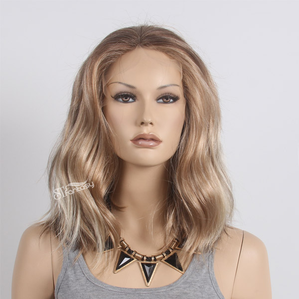 Ombre medium long lace front synthetic wigs for American women
