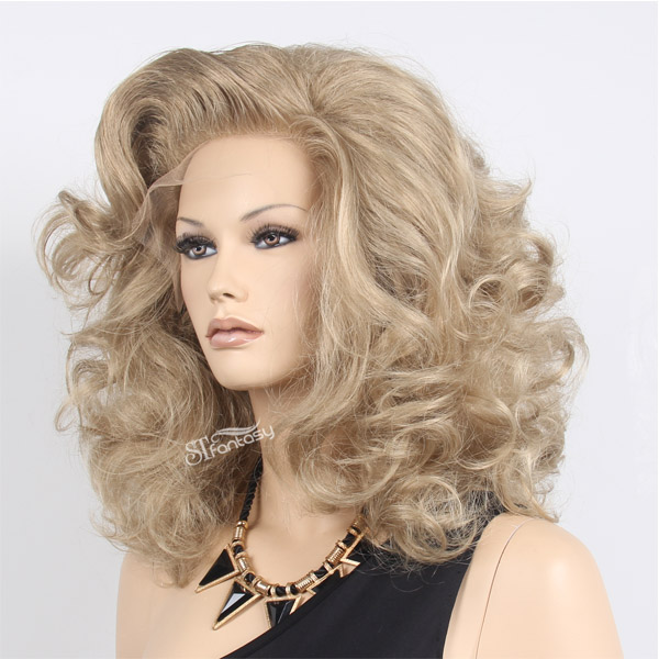 High quality Swiss lace fluffy natural synthetic lace frontal wigs