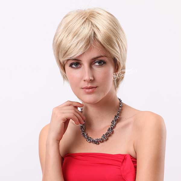 "13"" short blonde fashion wigs real looking best synthetic hair wigs for white women"