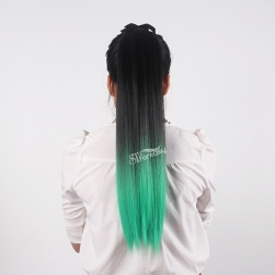ST wholesale synthetic hair straight black ombre green long ponytails