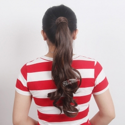 Long curly brown synthetic hair ponytail with synthetic hair holder