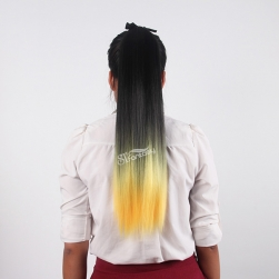 ST wholesale long straight black ombre yellow synthetic hair ponytaile with string
